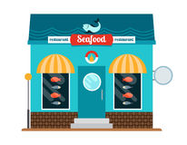 Seafood restaurant front. Flat colorful vector icon on white background Stock Photos