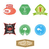 seafood restaurant labels Stock Photo