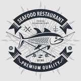 Seafood restaurant logo with fish and fishing rods. Vintage badge design. Vector illustration.  royalty free illustration