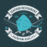 Seafood restaurant logo with Ray fish and fishing rods. Vintage badge design. Vector illustration. royalty free illustration