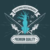 Seafood restaurant logo with Squid and fishing rods. Vintage badge design. Vector illustration.  vector illustration