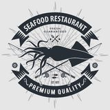 Seafood restaurant logo with Squid and fishing rods. Vintage badge design. Vector illustration.  stock illustration