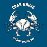 Seafood restaurant logo template with crab Royalty Free Stock Photography
