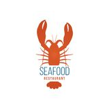 Seafood restaurant logo template with lobster. On white background Stock Image