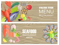 Seafood Restaurant Menu with Delicious Fesh Fish. Seafood restaurant menu with fresh fish, big lobster, oysters of several kind, king shrimp, tasty octopus and stock illustration