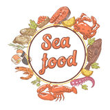 Seafood Restaurant Menu Design with Fish, Crab and Oysters. Hand Drawn illustration. Seafood Restaurant Menu Design with Fish, Crab and Oysters. Hand Drawn Royalty Free Stock Photos