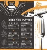 Seafood restaurant menu design Stock Photos