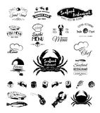 Seafood restaurant. The Menu Design.Labels and Badges food and drinks. Stock Images