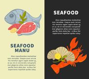 Seafood restaurant menu vector design template for fresh fish sea food. Seafood restaurant menu design template for fresh sea food and fish. Vector seafood Stock Photos