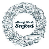Seafood. restaurant menu design template. sketches food Stock Photography
