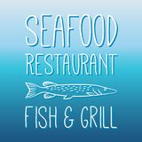Seafood menu Fish And Grill Label/Badge. Seafood restaurant menu Fish And Grill Label/Badge. For sea food signage, prints and stamps Stock Photo