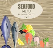 Seafood Restaurant Menu with Fish on Cutting Board Stock Photography