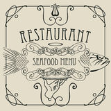 Seafood restaurant menu with hand, tray and fish. Vector restaurant menu of seafood with a picture of a hand with a tray on which is a big fish in a retro style Royalty Free Stock Photo