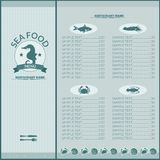 Seafood restaurant menu Stock Photo
