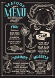 Seafood menu restaurant, food template. Seafood restaurant menu. Vector food flyer for bar and cafe. Design template with vintage hand-drawn illustrations Royalty Free Stock Images