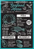 Seafood menu restaurant, food template. Seafood restaurant menu. Vector food flyer for bar and cafe. Design template with vintage hand-drawn illustrations Royalty Free Stock Photography