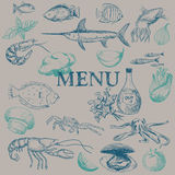 Seafood restaurant menu Royalty Free Stock Photo