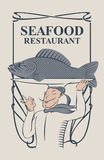 Seafood restaurant with the smiling chef and fish Stock Images