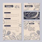Seafood restaurant templates with menu, visit and reserved card Royalty Free Stock Photo