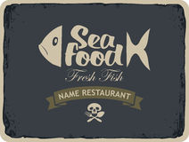 Seafood restaurants with fish. Retro banner for seafood restaurants with fish and Jolly Roger skull and cutlery Royalty Free Stock Photography