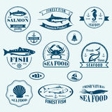 Seafood retro emblems and labels Stock Images