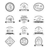 Seafood Retro Emblems royalty free illustration