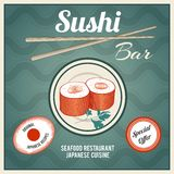 Seafood Retro Poster. Seafood sushi bar japanese cuisine restaurant retro poster with fish rolls and chopsticks vector illustration Stock Photography