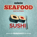 Seafood retro poster. Seafood sushi bar premium quality restaurant retro poster with rolls and chopsticks vector illustration Royalty Free Stock Images