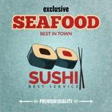 Seafood retro poster stock illustration