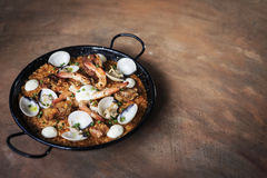 Seafood and rice paella traditional spanish food Royalty Free Stock Images