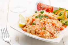 seafood rice with salad Royalty Free Stock Photo