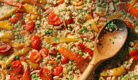 Seafood rice with tomatoes and peas Stock Image