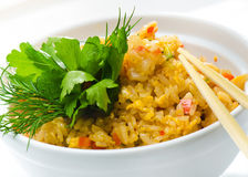 Seafood and rice . Royalty Free Stock Photography