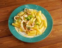 Seafood with Rigatoni Pasta Stock Photo