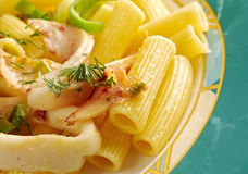 Seafood with Rigatoni Pasta Stock Images