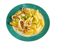 Seafood with Rigatoni Pasta Royalty Free Stock Photos