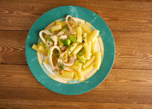 Seafood with Rigatoni Pasta Stock Photos