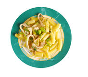 Seafood with Rigatoni Pasta Stock Photos