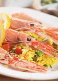 Seafood risotto with shrimps Stock Images