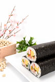 Seafood Rolled sushi and soy Stock Images