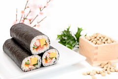 Seafood Rolled sushi and soy Royalty Free Stock Photos
