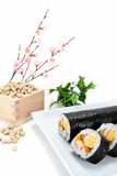 Seafood Rolled sushi and soy Royalty Free Stock Images