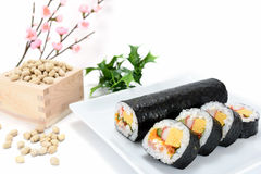Seafood Rolled sushi and soy Royalty Free Stock Photography