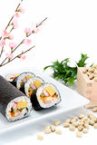 Seafood Rolled sushi and soy Stock Image