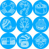Seafood round blue icons. Set of flat round blue icons with white line elements of seafood menu on white background Stock Image