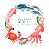 Seafood round circle background Stock Image
