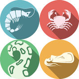 Seafood round colored icons. Set of round colored flat icons with white silhouette elements of seafood menu on white background with long shadows Stock Image