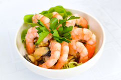 Seafood salad, shrimps Royalty Free Stock Photography