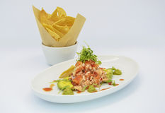 Seafood Salad with chips Royalty Free Stock Photos