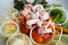 Seafood Salad, close up Royalty Free Stock Photo